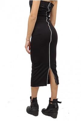 Дамска пола с висока талия и цип в 3 цвята