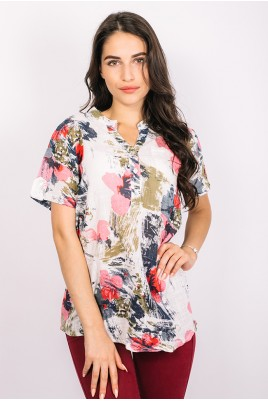 Дамска ленена блуза тип риза в 2 цвята