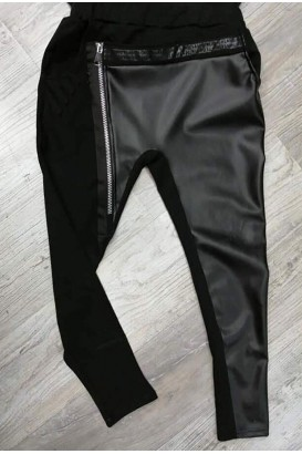 Women's trousers with leather