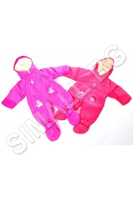 Детски зимен гащеризон за момичета в розов и коралов цвят