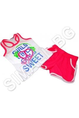 Детски комплект за момичета от 1 до 4 год. в хитови цветове за лято 2015г.
