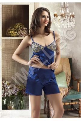 Луксозна сатенена пижама в лилав,цикламен и син цвят