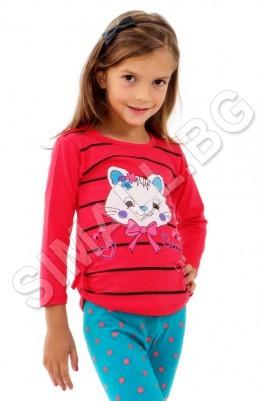 Детска блуза с дълъг ръкав за момичета от 3 до 7 години