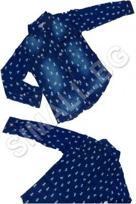 Детска дънкова риза на черепи за момчета от 4 до 12 години