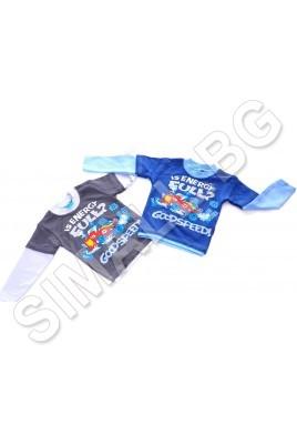 Детска блузка за момчета от 9 до 24 месеца в сив и син цвят